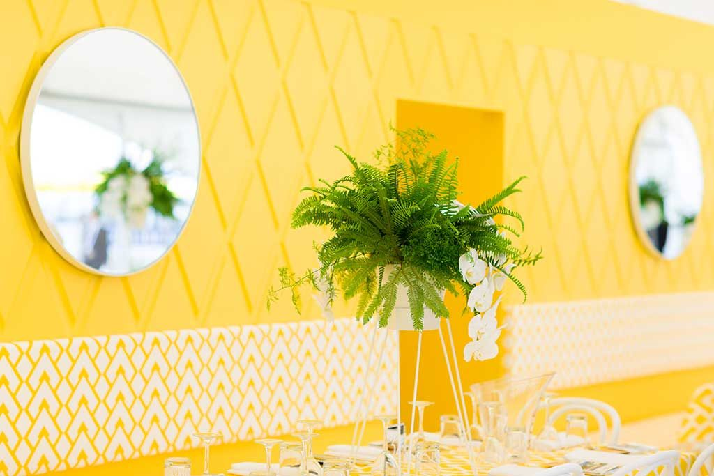 Yellow room decore at event - event photography
